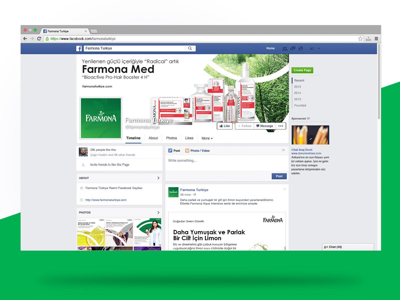 Farmona Türkiye Facebook Sayfası